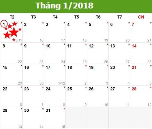 Lịch nghỉ Tế Dương lịch 2018