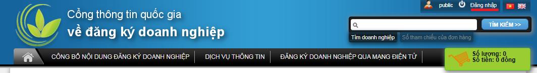 Chọn đăng nhập góc phải màn hình