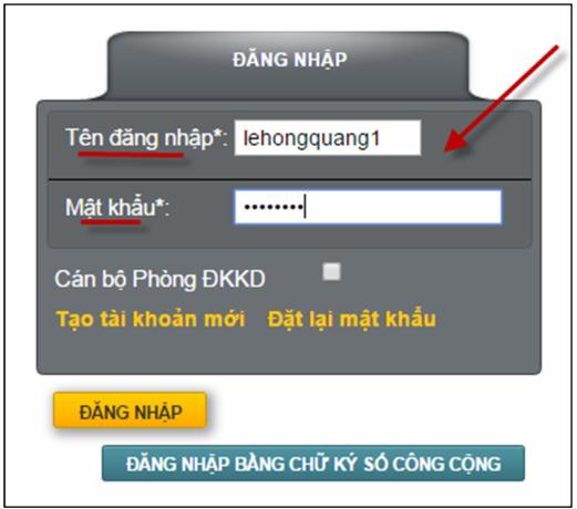 Màn hình đăng nhập tài khoản trên Cổng thông tin